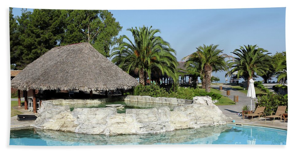 Bar Hand Towel featuring the photograph Tropic Bar Vacation Summer Scene by Goce Risteski