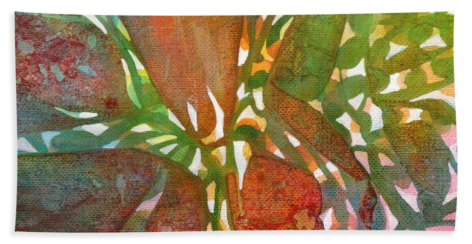 Colorful Imaginary Rainbow-colored Make Believe Tropical Garden. This Vibrant Abstract Painting Is The Perfect Accent Piece To Brighten Your Room Or Attract Attention When Added To Any Grouping.  Hand Towel featuring the painting Tropical #2 by Joan Clear