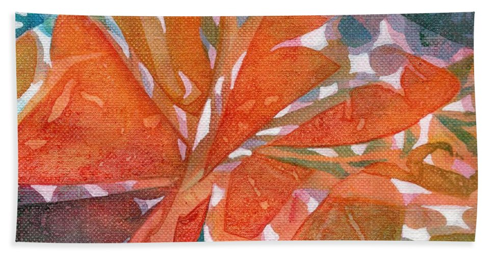 Colorful Imaginary Rainbow-colored Make Believe Tropical Garden. This Vibrant Abstract Painting Is The Perfect Accent Piece To Brighten Your Room Or Attract Attention When Added To Any Grouping.  Hand Towel featuring the painting Tropical #5 by Joan Clear