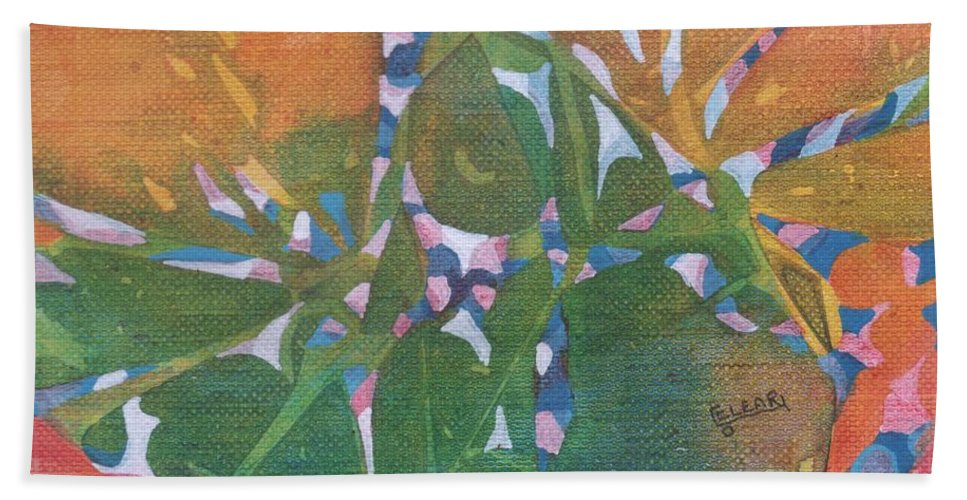 Colorful Imaginary Rainbow-colored Make Believe Tropical Garden. This Vibrant Abstract Painting Is The Perfect Accent Piece To Brighten Your Room Or Attract Attention When Added To Any Grouping.  Hand Towel featuring the painting Tropical #6 by Joan Clear