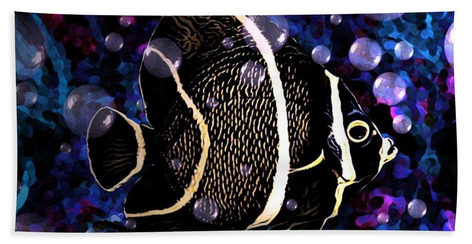 Digital Art Bath Sheet featuring the digital art Tropical Angel Fish by Artful Oasis