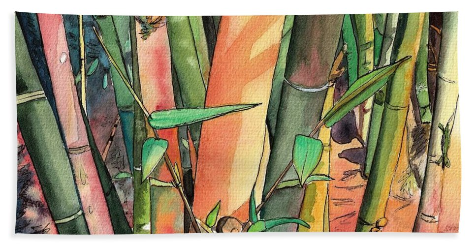 Tropical Bamboo Hand Towel featuring the painting Tropical Bamboo by Marionette Taboniar