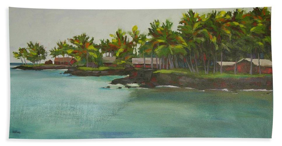 Oil Bath Towel featuring the painting Tropical Bay by Mary McInnis