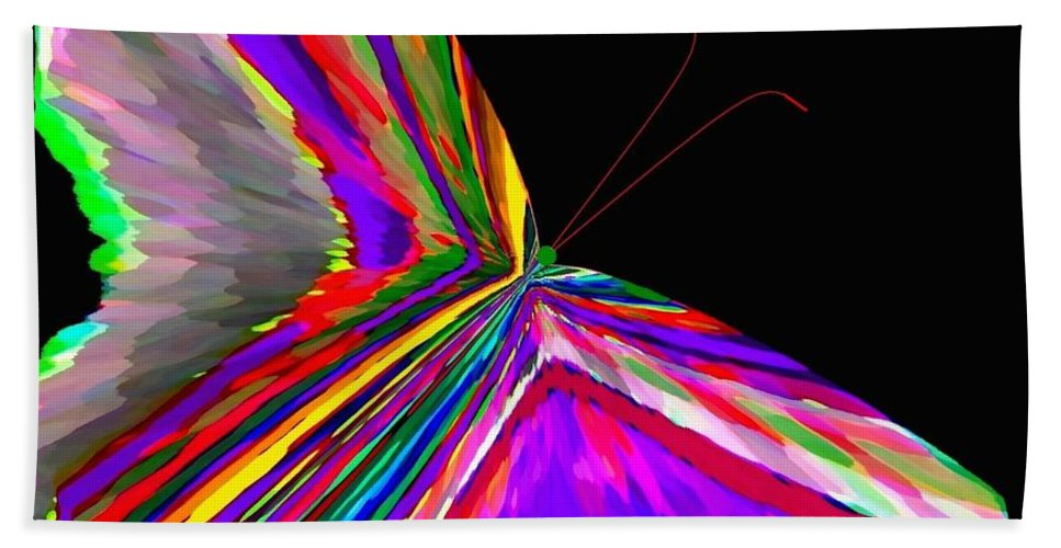 Abstract Hand Towel featuring the digital art Tropical Butterfly by Will Borden