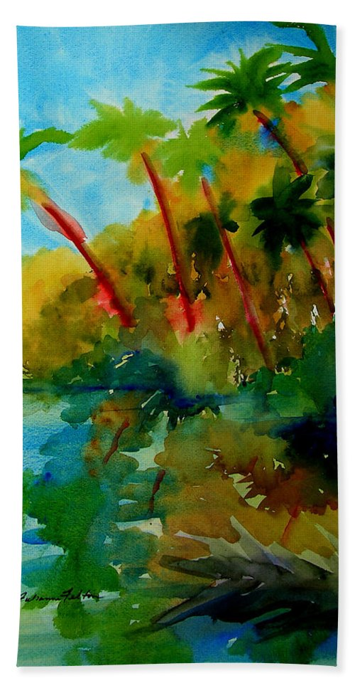 Art Hand Towel featuring the painting Tropical Canal by Julianne Felton