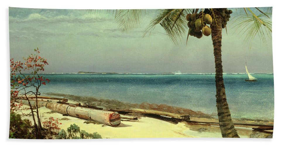 Shore; Exotic; Palm Tree; Coconut; Sand; Beach; Sailing Bath Towel featuring the painting Tropical Coast by Albert Bierstadt