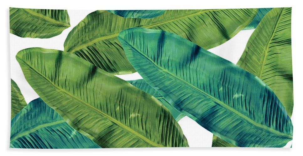 Tropical Leaves.nature Design Bath Towel featuring the painting Tropical Leaves 7 by Mark Ashkenazi