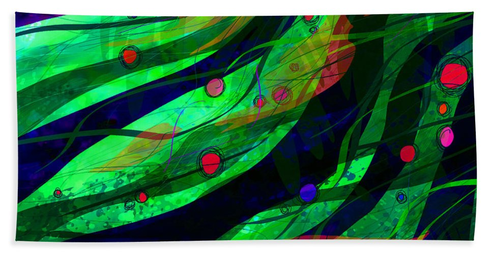 Abstract Hand Towel featuring the digital art Tropical Dreams by Rachel Christine Nowicki