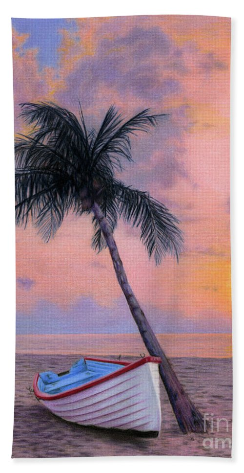 Tropical Bath Towel featuring the painting Tropical Escape by Sarah Batalka