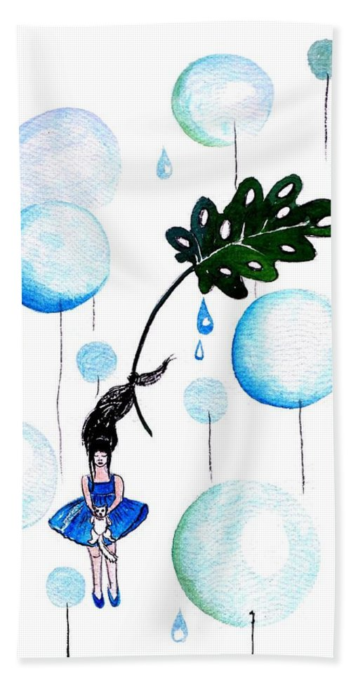 Ballon Hand Towel featuring the painting Tropical Fly by Sweeping Girl