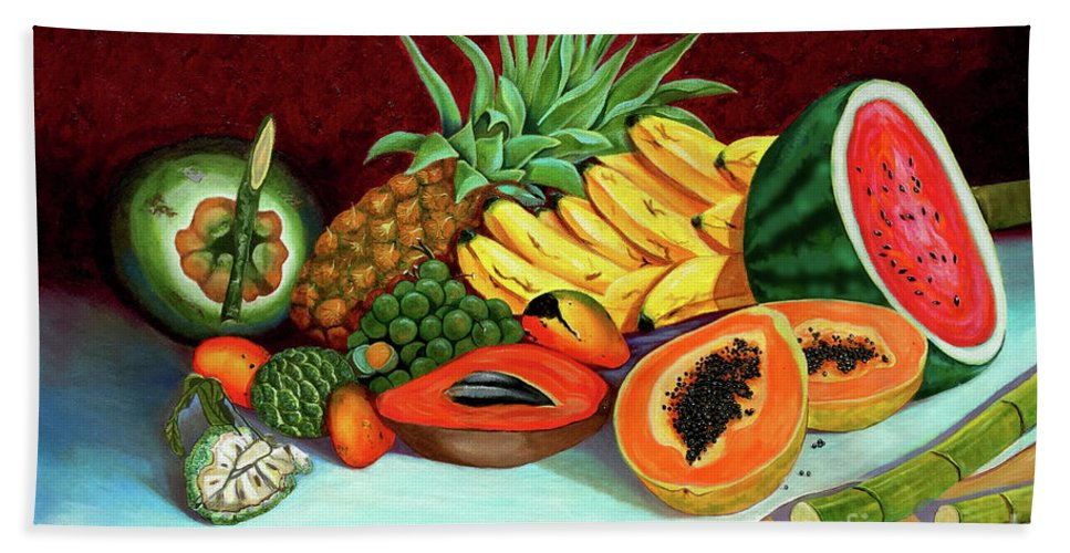 Coconut Bath Towel featuring the painting Tropical Fruits by Jose Manuel Abraham