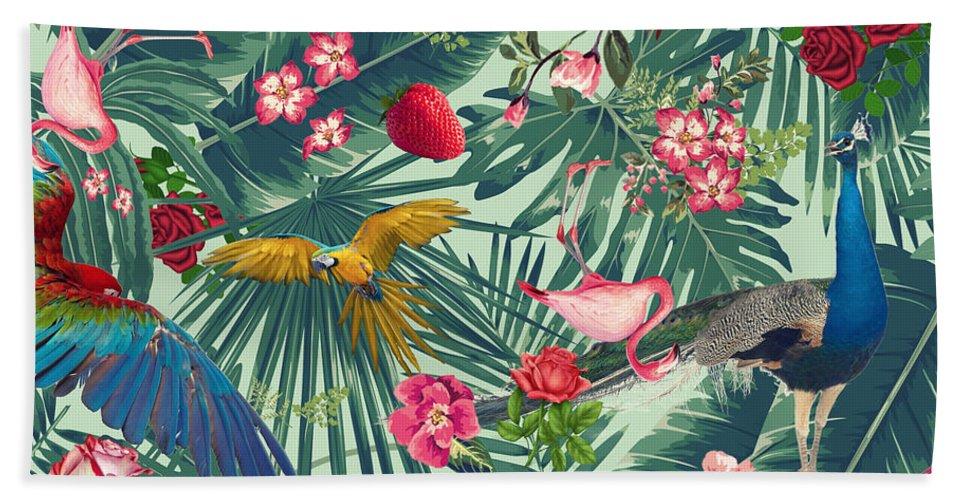 Nature Pattern Hand Towel featuring the digital art Green Tropical Paradise by Mark Ashkenazi