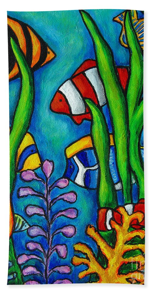 Tropical Bath Towel featuring the painting Tropical Gems by Lisa Lorenz