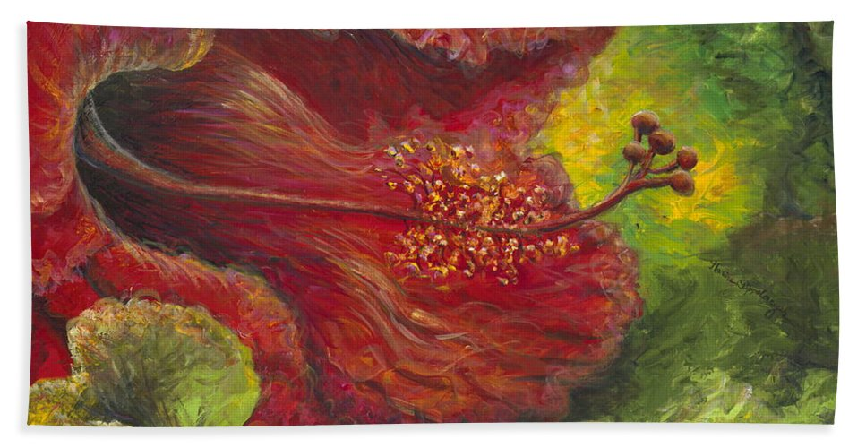 Flowers Bath Sheet featuring the painting Tropical Hibiscus by Nadine Rippelmeyer