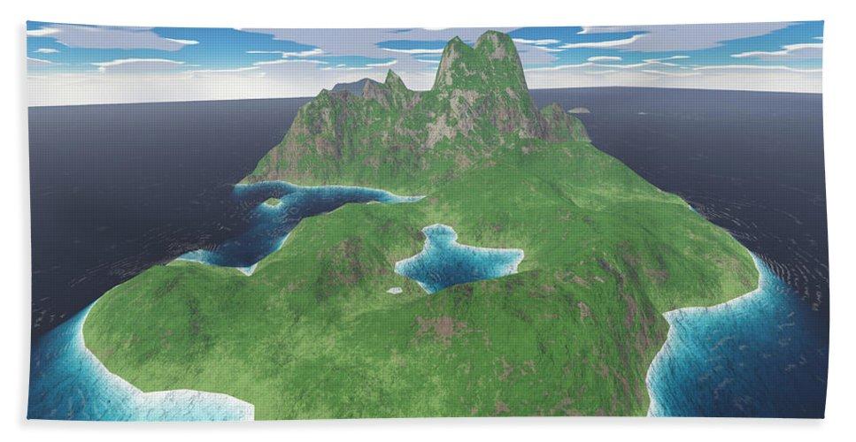 Aerial Hand Towel featuring the digital art Tropical Island by Gaspar Avila