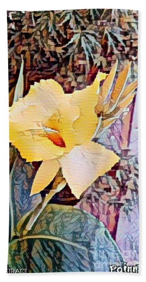 Mixedmedia Hand Towel featuring the mixed media Tropical Lilly by Steven Wills