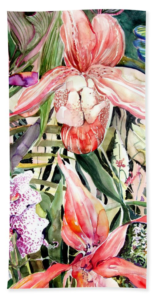 Watercolor Hand Towel featuring the painting Tropical Orchids by Mindy Newman