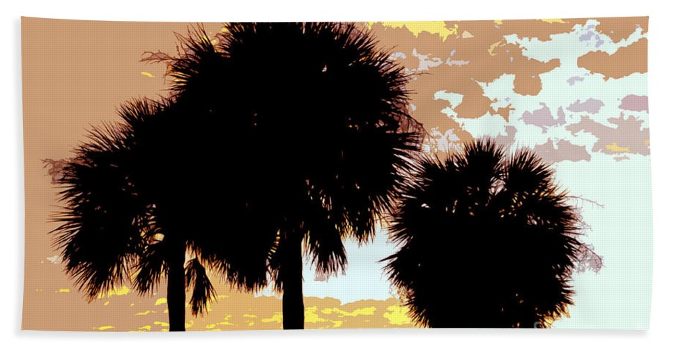 Tropical Bath Towel featuring the painting Tropical Palms Work Number Four by David Lee Thompson