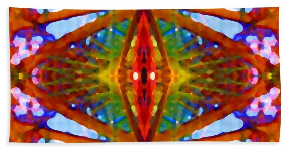 Abstract Bath Towel featuring the painting Tropical Stained Glass by Amy Vangsgard