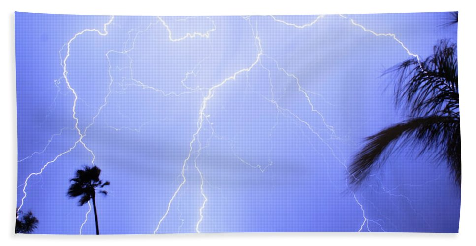 Lightning Hand Towel featuring the photograph Tropical Storm by James BO Insogna