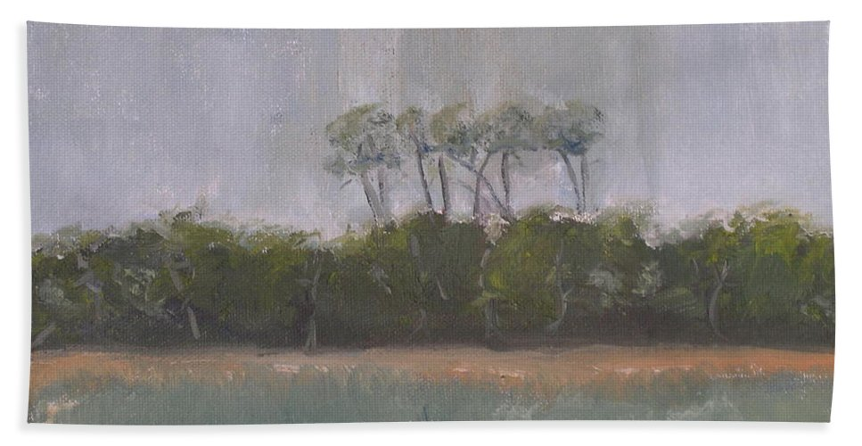 Landscape Beach Coast Tree Water Bath Sheet featuring the painting Tropical Storm by Patricia Caldwell
