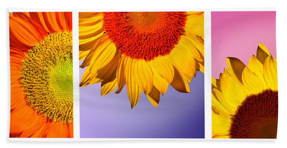 Sunflowers Bath Towel featuring the photograph Tropical Sunflowers by Mark Ashkenazi