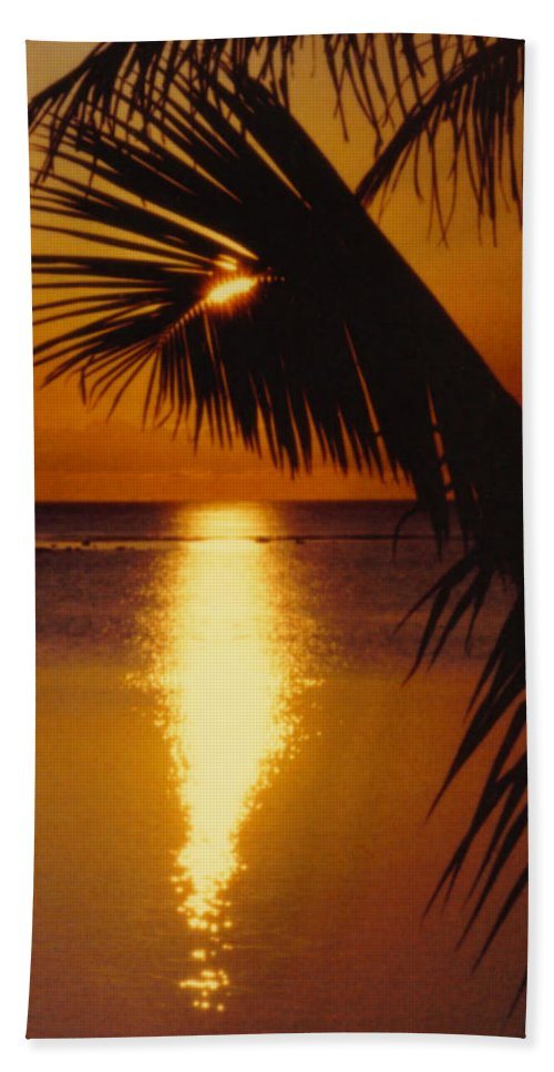 Palm Trees Hand Towel featuring the photograph Tropical Sunset by Dina Holland