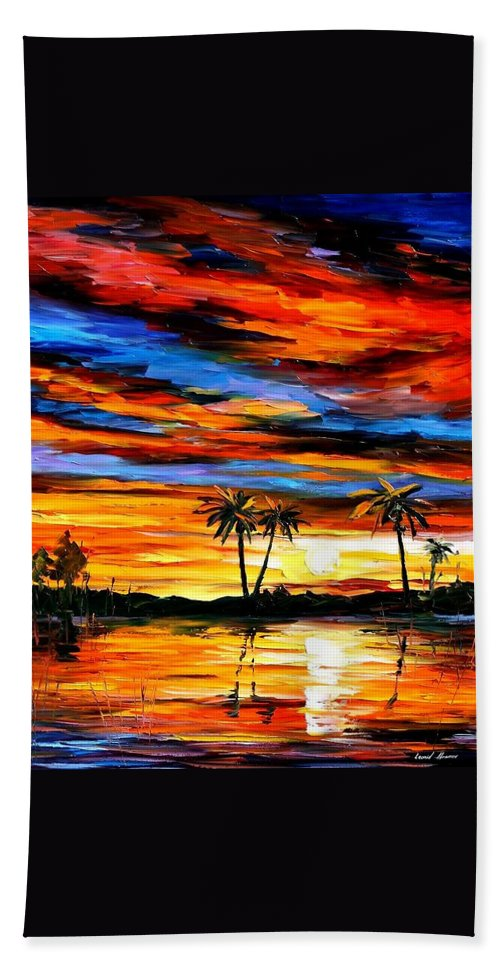 Afremov Hand Towel featuring the painting Tropical Sunset by Leonid Afremov