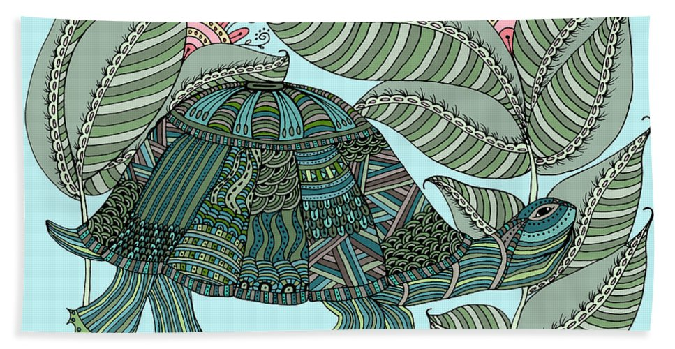 Turtle Bath Sheet featuring the drawing Tropical Turtle by Linda Tetmyer