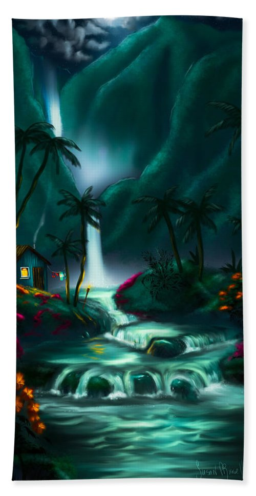 Digital Art Hand Towel featuring the digital art Tropical Vacation by Susan Rossell