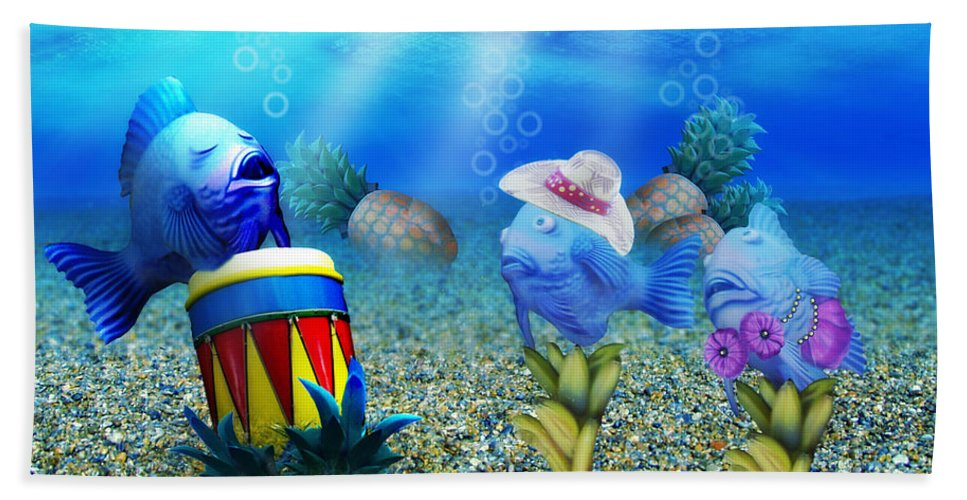 Fish Bath Sheet featuring the digital art Tropical Vacation Under The Sea by Gravityx9 Designs