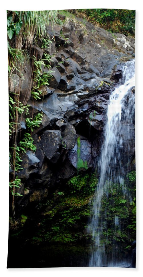 Waterfall Hand Towel featuring the photograph Tropical Waterfall by Gary Wonning