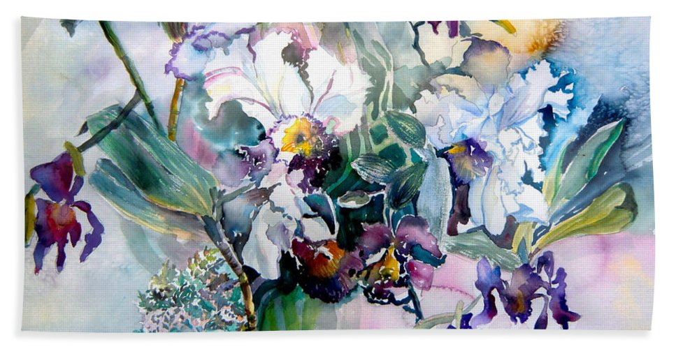 Orchids Hand Towel featuring the painting Tropical White Orchids by Mindy Newman