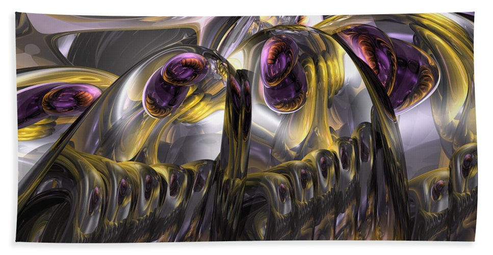 3d Hand Towel featuring the digital art Tropical Wind Abstract by Alexander Butler