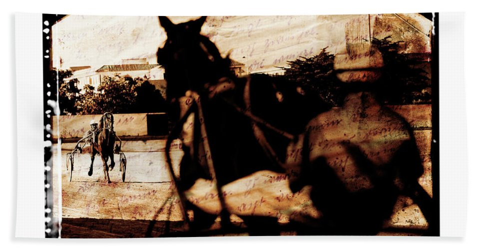 Horse Hand Towel featuring the photograph trotting 1 - Harness racing in a vintage post processing by Pedro Cardona Llambias
