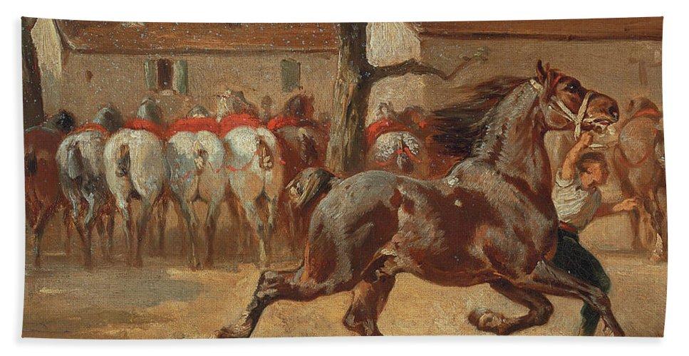 Rosa Bonheur Bath Sheet featuring the painting Trotting A Horse by Rosa Bonheur
