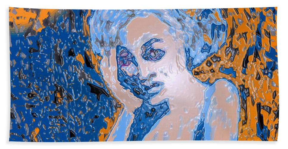 Woman Bath Towel featuring the digital art Troubled Woman by Ian MacDonald