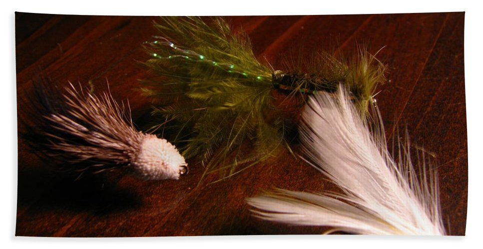 Patzer Bath Sheet featuring the photograph Trout Flys by Greg Patzer