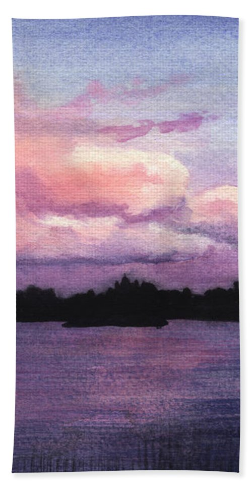 Landscape Bath Towel featuring the painting Trout Lake Sunset I by Lynn Quinn