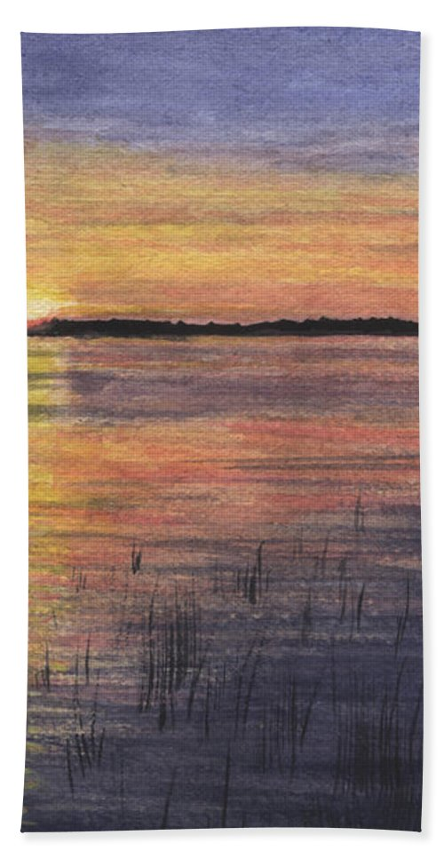 Landscape Hand Towel featuring the painting Trout Lake Sunset II by Lynn Quinn