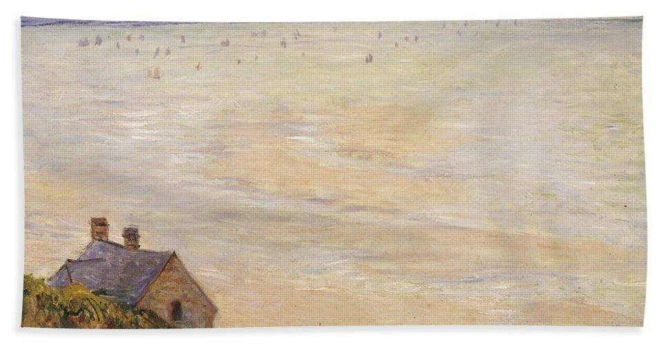 French Bath Towel featuring the painting Trouville At Low Tide by Claude Monet