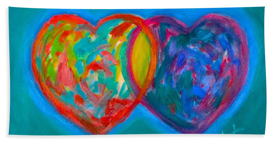 Heart Bath Sheet featuring the painting True Blue Hearts by Kendall Kessler
