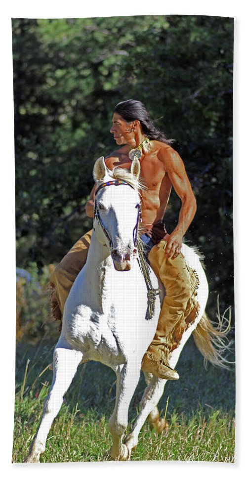 Native American Bath Sheet featuring the photograph True Horsemen by Samantha Burrow