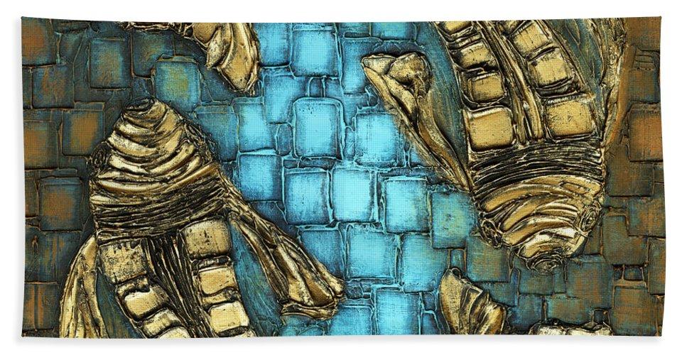 Koi Fish Hand Towel featuring the painting True Love by Susanna Shaposhnikova