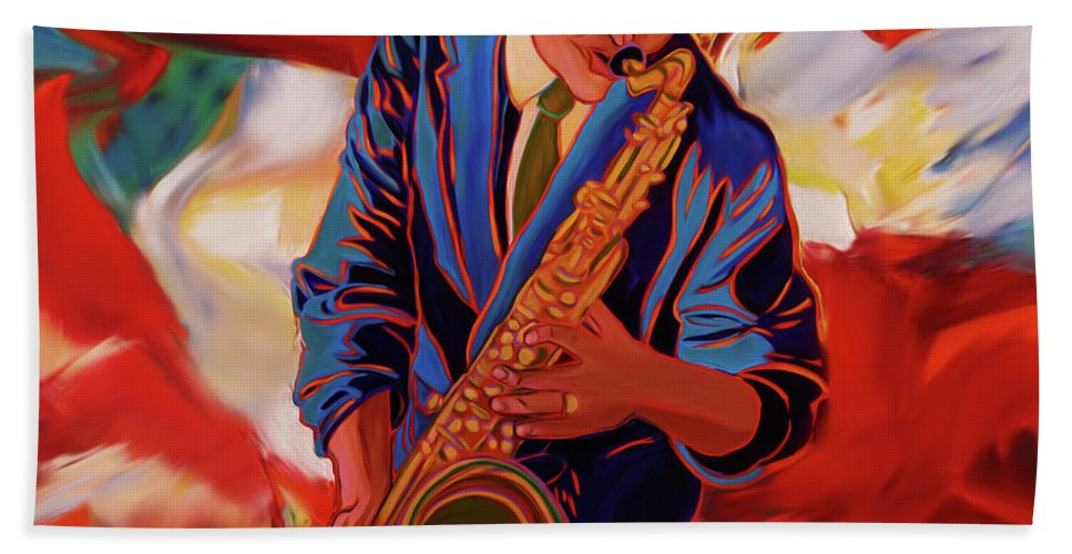 Trumpet Hand Towel featuring the painting Trumpet Player by Gull G