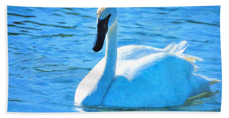 Swan Hand Towel featuring the photograph Trumpeter Swan Impressions by Greg Norrell