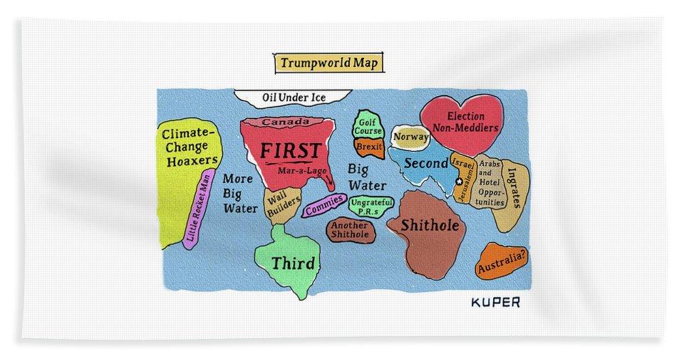 Trumpworld Map Bath Sheet featuring the drawing Trumpworld Map by Peter Kuper