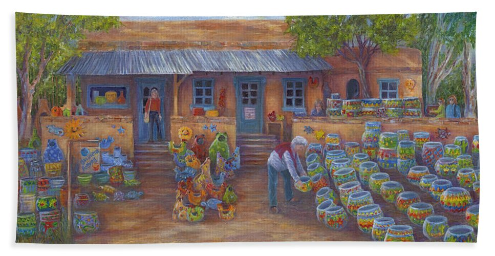 Mexican Pottery Hand Towel featuring the painting Tubac Pottery Shop by June Hunt
