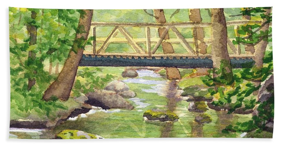 Stream Hand Towel featuring the painting Tuckers Brook by Sharon E Allen