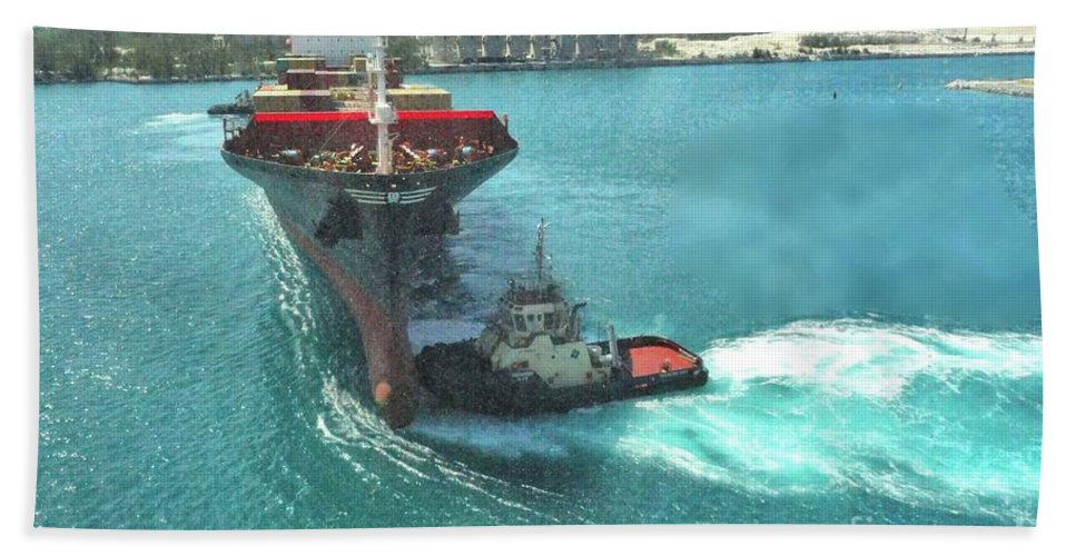 Tugboat Bath Sheet featuring the photograph Tugboat At Freeport, Grand Bahamas Harbor by Janette Boyd